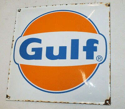 Gulf Oil Vintage Style Porcelain Signs Gas Pump Man Cave Station 12