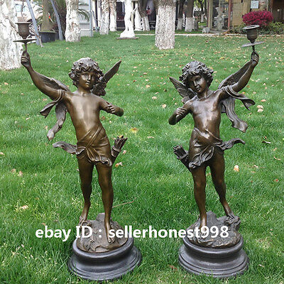 Western Bronze Marble Two Angel Angel Hand Raised Candle Table Art Deco Sculptur