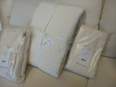 Pottery Barn Ivory Valerie Matelasse Full Queen Duvet 2 Euro Shams New Sold Out