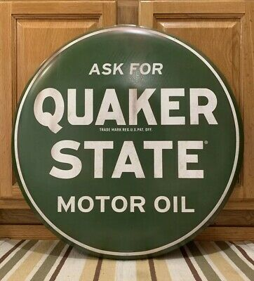 Quaker State Metal Sign Oil Can Gas Station Garage Vintage Style Auto Wall Decor