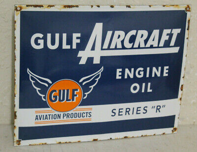Gulf Aircraft Engine Oil Vintage Style Porcelain Signs Gas Pump Man Cave Station