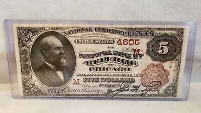 $5 1882 Chicago National Currency Bank Note Brown Back (very High Grade)