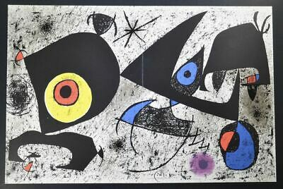 Joan Miro, Hand Signed Special Print (yellow And Red Eye-like Feature), With Coa