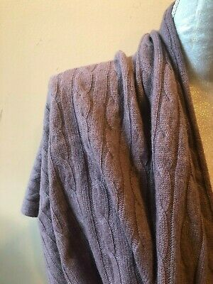 New Tahari Purple Cable Knit 100% Cashmere Shawl Wrap Travel Blanket Throw