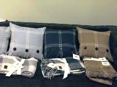 Ugg Throws &  Pillows 100% Soft Wool & Leather Down Filled Fringes U Pick New