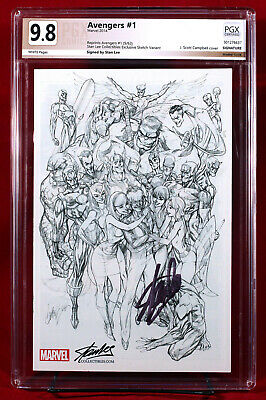 Avengers #1 Sdcc Rare Sketch Variant Pgx 9.8 Nm/mt Signed By Stan Lee + Cgc!!!