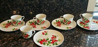 4 Snack Sets + 1 Appetizer Plate, 1 Cup By Seymour Mann Vintage (70's) Cherries