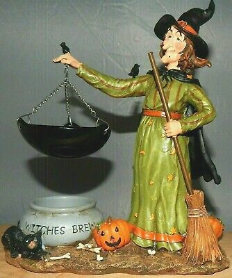 Retired Yankee Candle Witch W/cauldron Brew Hanging Tart Burner Vintage