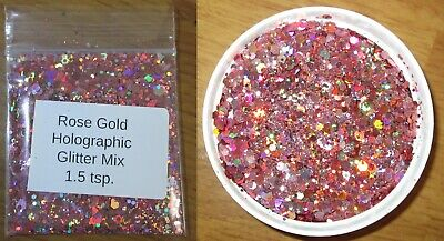 """""""rose Gold"""" Holographic Glitter Mix ~ Nail Art ~ Acrylics & Gels"""
