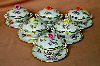 herend vbo queen victoria 6x lidded cups double handles and 6x saucers