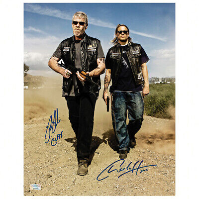 Charlie Hunnam Ron Perlman Autographed Sons Of Anarchy Men Of Mayhem 11x14 Photo
