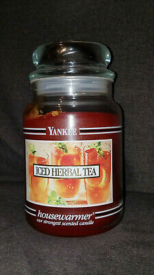 Rare Htf Yankee Candle Black Band Iced Herbal Tea 22 Oz. Scented Candle Retired