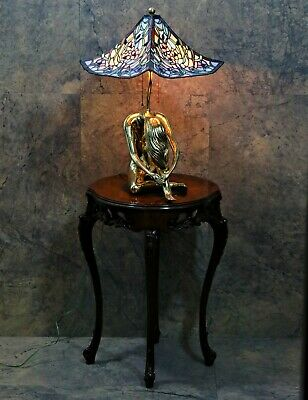 """Art Deco """"w&s""""1938 Mosaic Shade Leaded Stained Glass Lamp Nude Brass Base"""