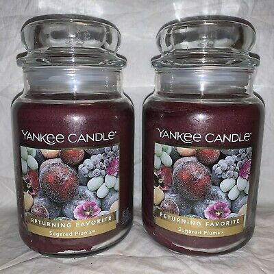 Yankee Candle Sugared Plums, 22 Oz. Lot Of 2, Returning Favorite Label.