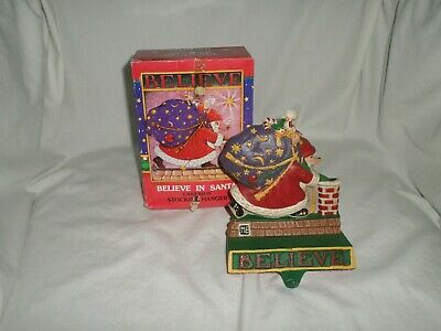 Midwest Mary Engelbreit Stocking Hanger Cast Iron Believe In Santa With Box