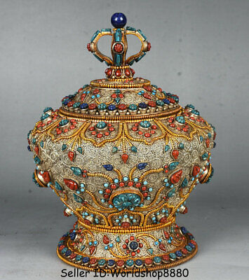 """8.4"""" Old Tibet Buddhism Silver Wire Gilt Inlay Turquoise Coral Pot Jar Crock"""