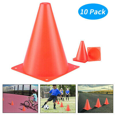 10pc Plastic Sports Training Traffic Cone Pylons Outdoor Gaming Festive Event Us