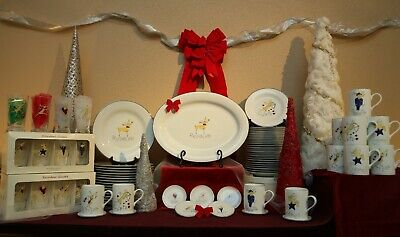90-piece Service — Original Pottery Barn Holiday Reindeer Plates Collectors Set