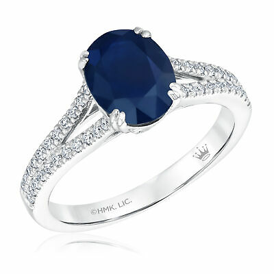 True By Hallmark Bridal Oval Blue Sapphire And Diamond Engagement Ring 1/4ctw -