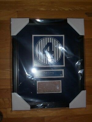 Lou Gehrig Old Yankee Stadium Monument Park Retired Number Plaque With Brick