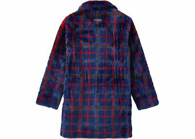 Supreme Jean Paul Gaultier Double Breasted Plaid Faux Fur Coat Blue Ss19 S Small