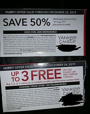 Yankee Candle Coupons Exp 12/24/19