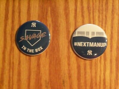 2019 Yankee Team Slogan- Savages In The Box And Next Man Up Pins
