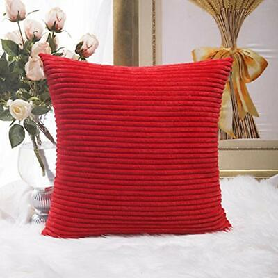 Throw Pillow Covers Decoration Solid Red Soft Striped Velvet Corduroy Plush For