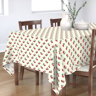 Tablecloth Yellow Kitchen Vintage 40s 50s Cherry Cherries Cotton Sateen