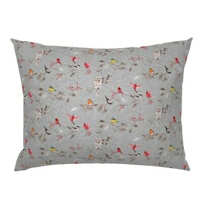 Bird Birds Snow Trees Texture Red Yellow Sparrow Winter Pillow Sham By Roostery