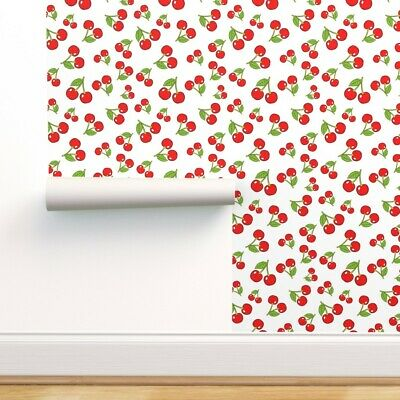 Wallpaper Roll Cherry Sketchy Cherries Vintage Red Green Fruit 24in X 27ft