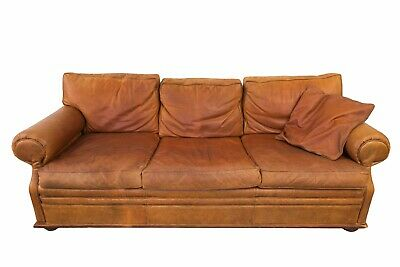 heavily distressed ralph lauren nailhead trim leather sofa  chair sold separate
