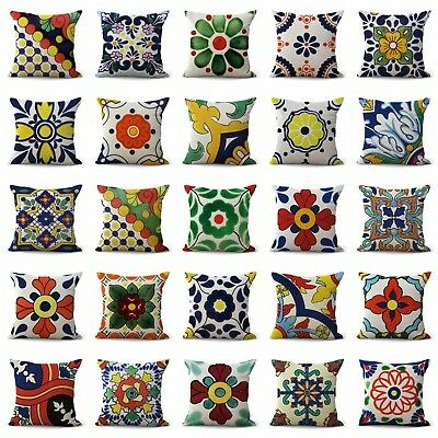 Us Seller- Set Of 100 Throw Cushions Online Azulejo Mexican Talavera Covers