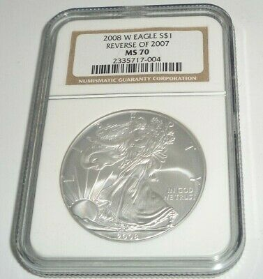 2008 W $1 Dollar Coin Silver Eagle Reverse Of 2007 Ngc Ms 70 West Point Mint