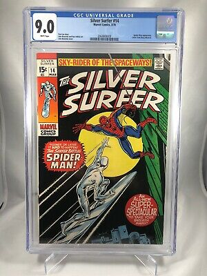 1970 Silver Surfer #14 Cgc 9.0 White Pages Spider-man Appearance Marvel Buscema!