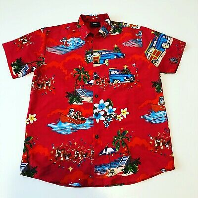 Lowes Shirt Mens Medium Red Santa Australia Surfing Palm Tree Hawaiian Floral
