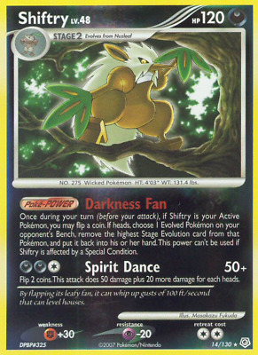 Diamond & Pearl Holo Rare Shiftry 14/130 Pokemon Trading Card LP NM