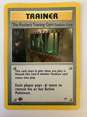 THE ROCKET'S TRAINING GYM 104/132 Gym Heroes 1st EDITION rare Pokemon card LP-NM