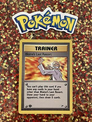 ⭐️ Pokemon 2000 1st Edition Blaine's Last Resort Gym Heroes Nintendo Card d1a 🎏