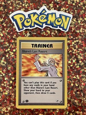 ⭐️ Pokemon 2000 1st Edition Blaine's Last Resort Gym Heroes Nintendo Card j7j 🎏