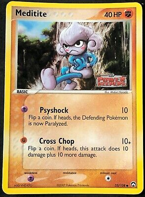 Pokemon Card Meditite (EX Power Keepers) 55/108 EX/NM Stamped Reverse Holo TCG!!