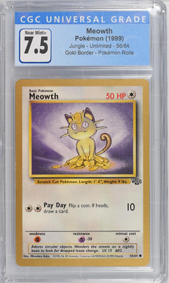CGC (7.5) 1999 Pokemon Jungle MEOWTH GOLD FRUIT ROLL UP PROMO-GRADED