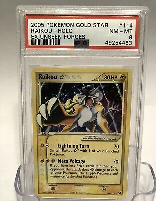 Pokemon Card Holo Gold Star Raikou 114/115 PSA 8 NM-MINT ex Unseen Forces