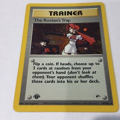 1st Edition The Rocket's Trap Holo 19/132 Trainer Gym Heroes Pokemon Card NM