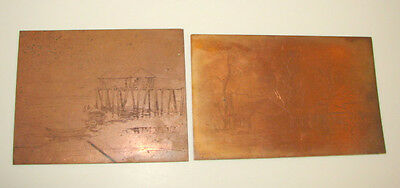 Antique Artwork Clara Epstein 2  Copper Plates Etching For Cards 1930
