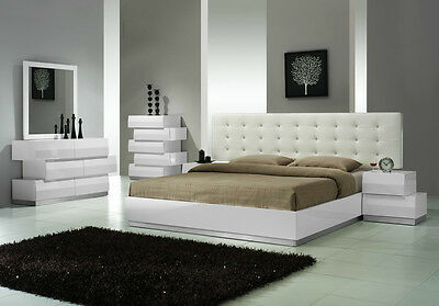 Modern White Lacuer Platform Bedroom Set With Leather Headboard