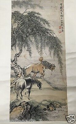Old Chinese Character Calligraphy Ink And Color Scroll Painting Mount #379