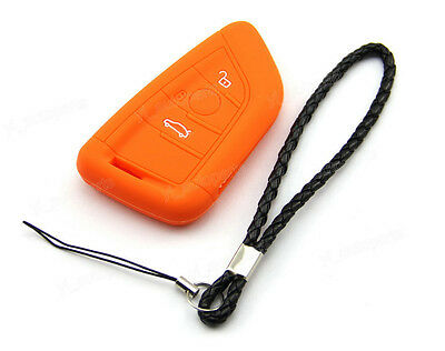 Orange Silicone Case Cover For Bmw 3 4 Buttons Remote Smart Key X5 X6 X56or