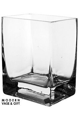 """Clear Glass Square Rectangular Vase H-5"""" Open-4""""x3"""" Wedding Floral Candle - 6pcs"""