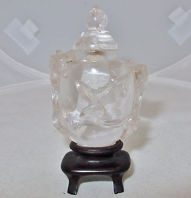 Chinese Carved Rock Crystal Quartz Snuff Bottle W/ Chilong Baby Dragons